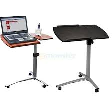 new height adjule rolling laptop desk hospital table cart over bed stand