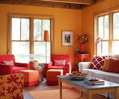 Warm Up Inspired by an orange sunset, the warm-color hues in this room  Red  AccentsWarm ColorsOrange Living ...