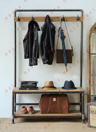 Shoe And Coat Rack Delectable Nordic American Country Industrial Pipes Iron Coat Rack Floor In