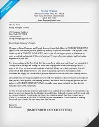 Cover Letter Examples For Resumes Bartender Cover Letter Sample Tips Resume Companion 52