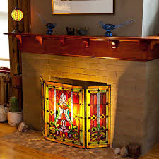 glass fire screen. Unique Fire Amazoncom River Of Goods Fireplace Screen Stained Glass Tiffany Style  Screens  Gas U0026 Wood Burning Fireplaces Home Improvement For Fire Screen