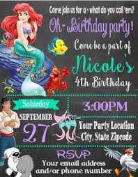 Party Invites Online Little Mermaid Ariel Birthday Party Invitations Invites Personalized Custom