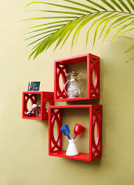 fancy handicraft design wall decor mdf wall shelf red