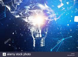 Inno Light 3d Illustration Exploding Light Bulb On A Blue Background