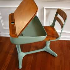 home school is cool vintage turquoise aqua elementary school storage desk and chair