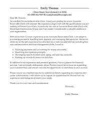 Leading Professional Accounts Receivable Clerk Cover Letter Examples