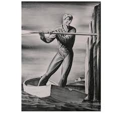 rockwell kent original stone lithograph 1929 the boatman for
