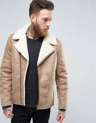 men jackets asos men s asos faux shearling biker jacket camel