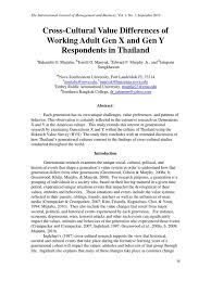 cross cultural value differences of working adult gen x and gen y cross cultural value differences of working adult gen x and gen y respondents in thailand thailand millennials