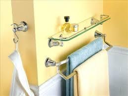 modern double towel bar. Moen Towel Rack Double Bar Chrome With Decorative Glass Wall Shelves For Modern Bathroom Design Ideas Instructions U