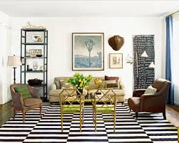 flat woven black and white dhurrie rugs have a crisp and contemporary feeling in a room