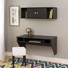 Image is loading Wall-Mounted-Floating-Computer-Desk-and-Hutch-w-