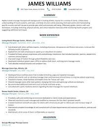 Massage Therapist Resume Sample Resumelift Com