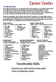 Transferrable Skills handout image