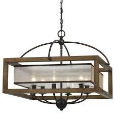 mission 24 wide 6 light square pendant chandelier wood metal