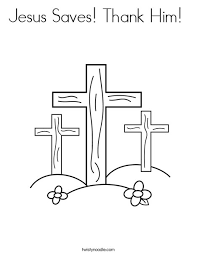 A coloring page of heavenly father and jesus christ appearing to joseph smith. Jesus Saves Thank Him Coloring Page Twisty Noodle