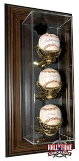 wall mount baseball display case for 3 base with a classic wood finish frame