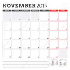 November November Calendar Calendar Planner For November 2019 Week Starts On Monday Printable