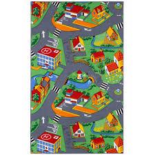 kids carpet 133 x 180 cm street rug play carpet grey 001