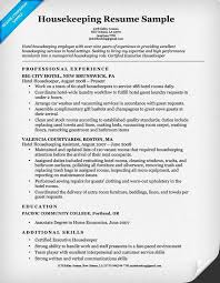Exquisite Design Housekeeping Summary For Resume Housekeeping Resume