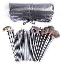 mac 24 pieces professional makeup brush set in leather pouch amazon co uk beauty