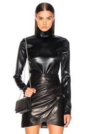 image 1 of givenchy faux leather turtleneck suit in black
