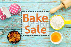 baking sale bake background with baking ingredients on wood table stock photo