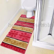 magnificent pink fl bathroom rug sets with striped brown accents