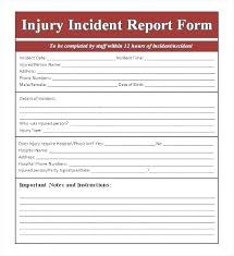 School Injury Report Form Template Workplace Accident
