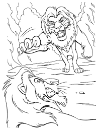 Simba Fighting Scar The Lion King Coloring Page Animal Coloring