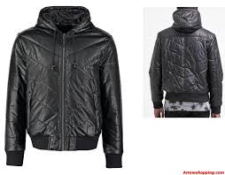 arrow men faux leather jacket hooded black 768686ttf