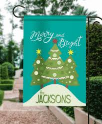 christmas garden flags. SGF-00009 Merry And Bright Personalized Christmas Garden Flag By Front Porch Flags