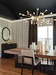 sputnik dining room trellis wallpaper black ceiling lizette marie interior design room ceiling light fixtures e56