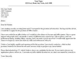 Office Junior Cover Letter Example Lettercv Com