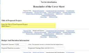sbir sttr phase i proposal submission guide title of proposed project field