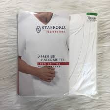 Mens Stafford White Vneck Shirts Nwt