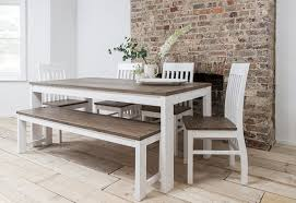 white kitchen table with bench and chairs hever dining table with chairs bench in white and