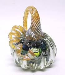 small clear dichroic glass pumpkin by ken hanson and ingrid hanson art glass sculpture artful home