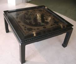 coffee table black low mid century lacquered asian inspired lacquer and mother of pearl ori