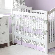 lilac and gray traditions damask nursery collection  baby crib