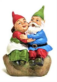 um scale lovely mr and mrs gnome couple garden statue small indoor outdoor yard lawn ornament