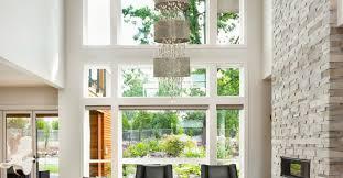 shaded foyer crystal chandelier beaded trim living room glow lighting