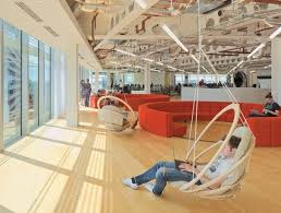 innovative office furniture. hanging lounge chairs and big circular booths give staff scope for different work environments at innovative office furniture