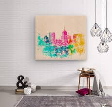 city at san francisco usa with colorful abstract background in pink blue yellow green wood