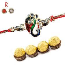 ganesha designer rakhi with chocolate for canada india usa uk