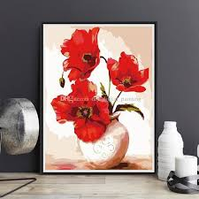 2019 framed on canvas diy digital oil painting by numbers wall flowers vase painting acrylic painting hand painted home decor for living from