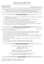 Executive Business Process Analyst Resume Allstar Construction