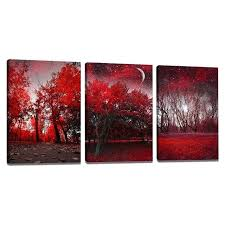 canvas wall paintings 3 pieces canvas wall art red forest modern wall paintings printed on canvas canvas wall paintings the avengers modern art