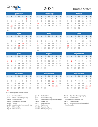 Below you can find a complete list of 2021 federal holidays along with a printable holiday calendar. 2021 United States Calendar With Holidays