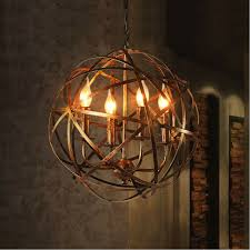 aged round metal sphere chandelier orb